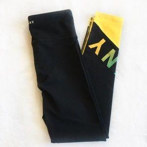 DKNY Sport black yellow 7/8 leggings hi waisted xs